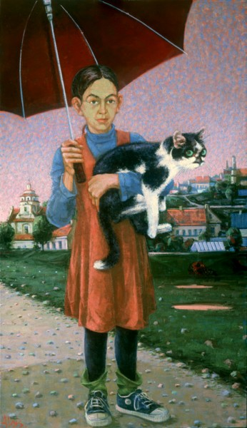 Mergaitė su katinu